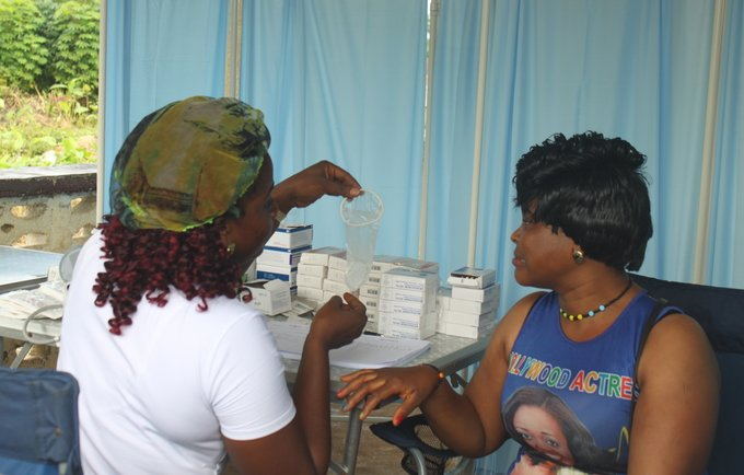 Health specialist demonstrates different family planning methods.