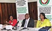 L-R: Deputy Health Minister Mrs. Yah Zolia, UNFPA Liberia Country Representative Dr. Oluremi Sogunro and ECOWAS Commissioner for Social Affairs and Gender, Dr. Fatimata Dia Sow address the media at the Monrovia City Hall
