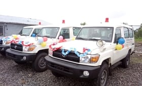 The facility was constructed and ambulances acquired with funding from the Government of Japan.